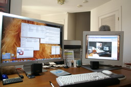 Multiple monitors handle multiple operating systems.